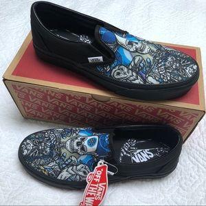 Vans Slip Ons Schoph Black Blue Skull Owl Shoes 9